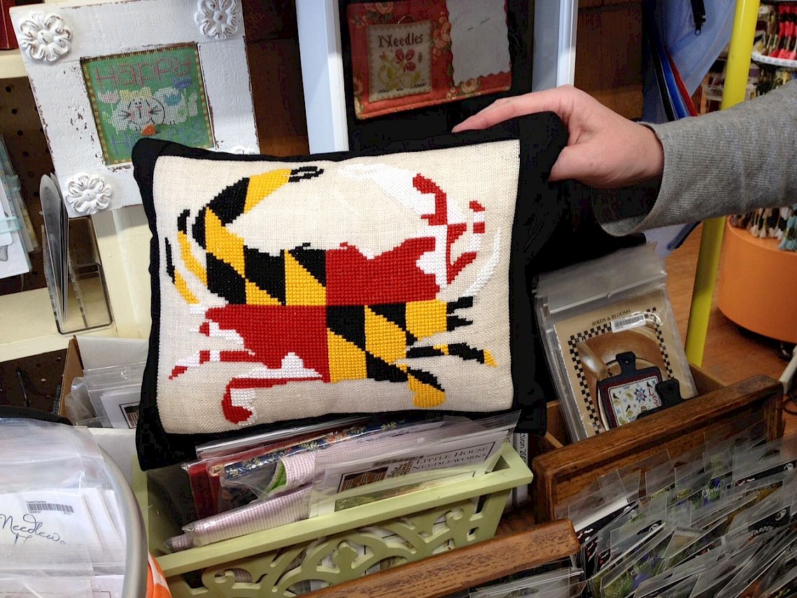 Maryland Flag Crab pillow by Sally Rutka